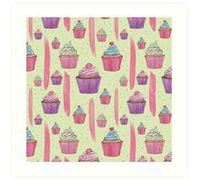 Cupcakes & Brush Strokes Art Print