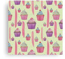 Cupcakes & Brush Strokes Canvas Print