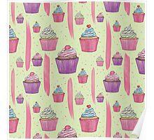 Cupcakes & Brush Strokes Poster