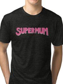 Super(tired)Mum in Pink and White Tri-blend T-Shirt