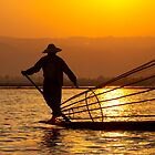 Golden Light On Inle Lake by Gina Ruttle  (Whalegeek)