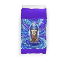 11th Doctor with Blue Phone box in time vortex Duvet Cover