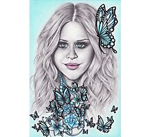 Flutterby, Butterfly, Blue eyes + Beads Photographic Print