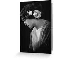 Lady with White Rose Greeting Card