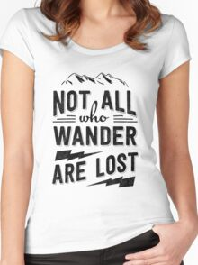 Not all who wander are lost - Black on any color Women's Fitted Scoop T-Shirt