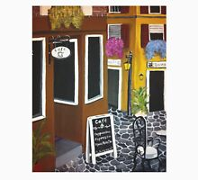 Outdoor cafe Acrylic Painting Womens Fitted T-Shirt