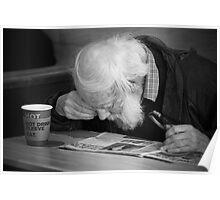 Man reading paper Poster
