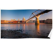 UK, London, St. Paul's Cathedral and Millennium Bridge over River Thames   Alan Copson © 2010 (20046-15) Poster