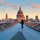 UK, London, St. Paul&#x27;s Cathedral and Millennium Bridge over River Thames   Alan Copson  2010 (20038-06) by Alan Copson