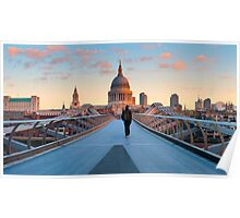UK, London, St. Paul's Cathedral and Millennium Bridge over River Thames   Alan Copson © 2010 (20038-06) Poster