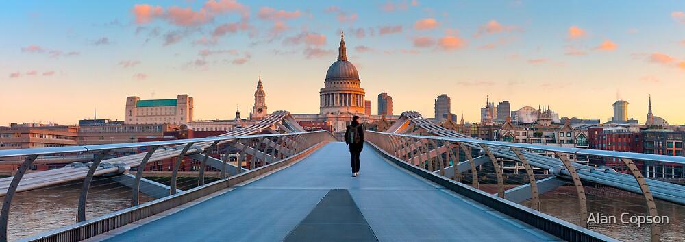 UK, London, St. Paul's Cathedral and Millennium Bridge over River Thames   Alan Copson © 2010 (20038-04) by Alan Copson