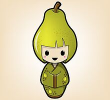 Pear Kokeshi Doll by Bubble Doll