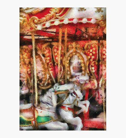 Americana - The Carousel - Painted Version Photographic Print
