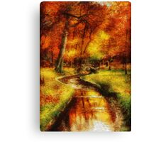 Autumn - By a little bridge - Painting Canvas Print