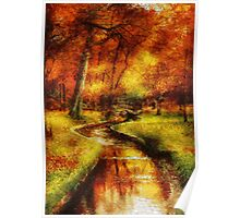 Autumn - By a little bridge - Painting Poster