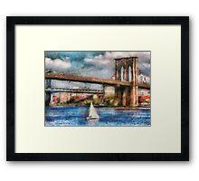 Boat - Sailing under the Brooklyn Bridge Framed Print