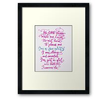 Just a girl handwritten quote Framed Print
