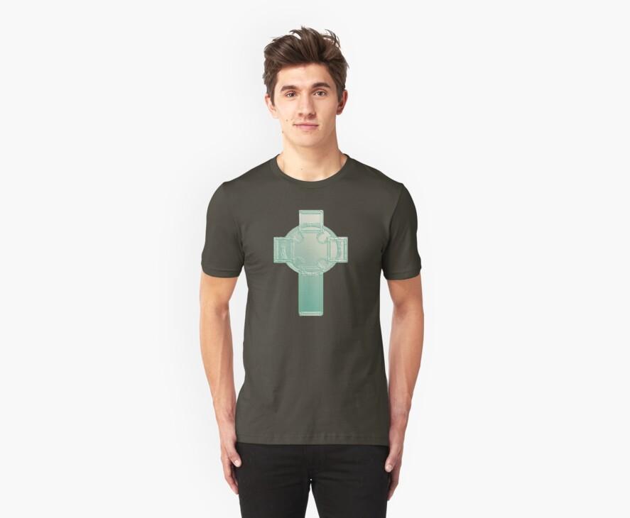 Celtic Cross Aqua/Ecru Bas Relief T-Shirt by MarjorieB
