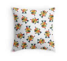 Happy Robot Pattern Throw Pillow