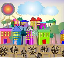 """Whimsical Village """"The Cottages"""" by gailg1957"""