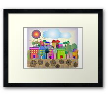 "Whimsical Village ""The Cottages"" Framed Print"