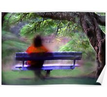woman on a park bench Poster