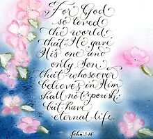 God's love John 3:16 Inspirational verse art by Melissa Goza