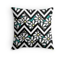 Smallish Daisy Turquoise Throw Pillow
