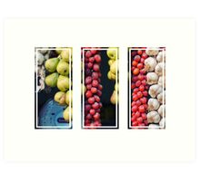 Beauty in tomatoes, garlic and pears triptych Art Print