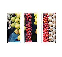 Beauty in tomatoes, garlic and pears triptych Photographic Print