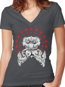 Angkor Wat Dragon Women's Fitted V-Neck T-Shirt