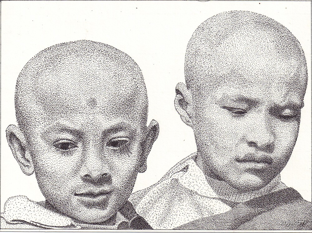 Novice Monks, Kathmandu, Nepal, Ink Drawing by RIYAZ POCKETWALA