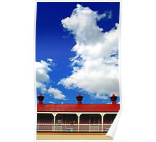 Clouds and 3 metal points to the sky Poster