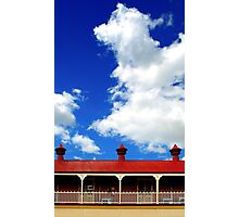 Clouds and 3 metal points to the sky Photographic Print