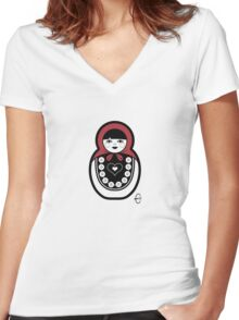 Russian Doll A Women's Fitted V-Neck T-Shirt