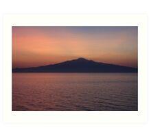 Sunset silhouette of Mt. Etna  Art Print