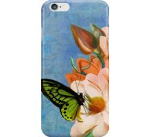 Periwinkle, peach magnolias, green butterfly vintage elements iPhone Case/Skin