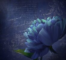 Patience, dramatic navy, periwinkle, aqua peony art by Glimmersmith