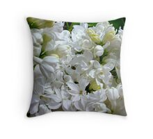 White Lilacs in Bloom Throw Pillow