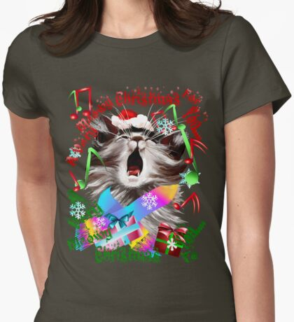 Christmas Carol Kitty Womens Fitted T-Shirt