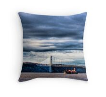 Rolling, Rolling, Rolling on the River (River Tug and Barge Beneath the George Washington Bridge HDR) Throw Pillow