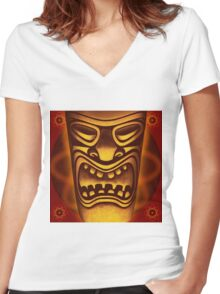 Atomic Tiki Logo T-shirt Women's Fitted V-Neck T-Shirt
