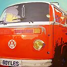 VW Campervan pop art painting - by Debbie Boyle dbartstudio by Deborah Boyle