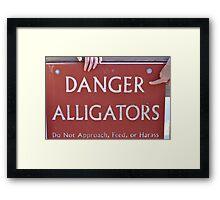 danger alligators Framed Print