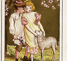 Flowers & Fancies Valentines Ancient & Modern Montgomerie Ranking art Kate Greenaway 1882 0023 Lamb and Garland by wetdryvac