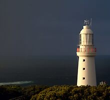 Sunrise Rain,Light Station Cape Otway on Bass Strait by Joe Mortelliti