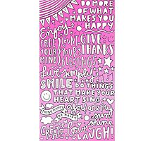 Happy quotes collage (pink) Photographic Print