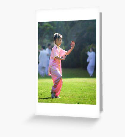 a girl practising TaiJi Greeting Card