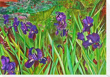 The Deep Purple Irises Field by Nira Dabush