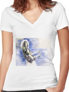 Led Zeppelin Jimi Page Women's Fitted V-Neck T-Shirt